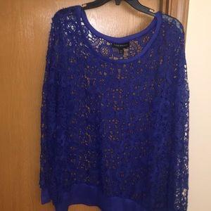 Royal blue crochet lace top
